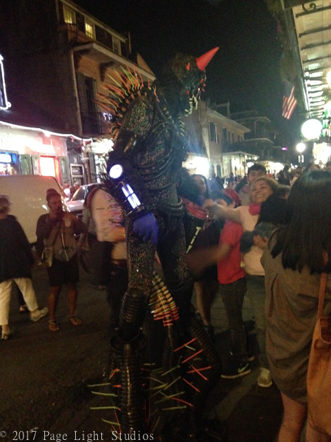 A person dressed as a street monster in the French Quarter