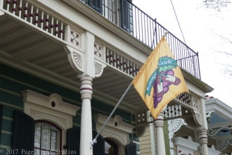 Interesting home flying a Mardi Gras Krewe flag in the Algiers neighborhood