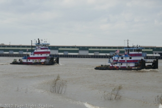 Barges on the river, visible from Algiers Point