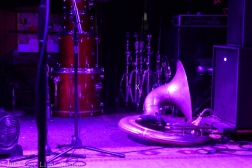 The Rebirth Brass Band's equipment on stage before the show.